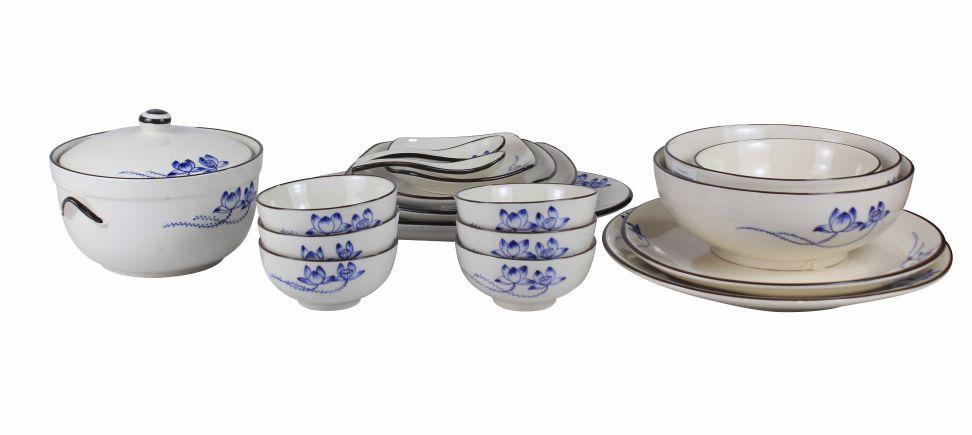 Bộ bát đĩa gốm sứ Bát Tràng