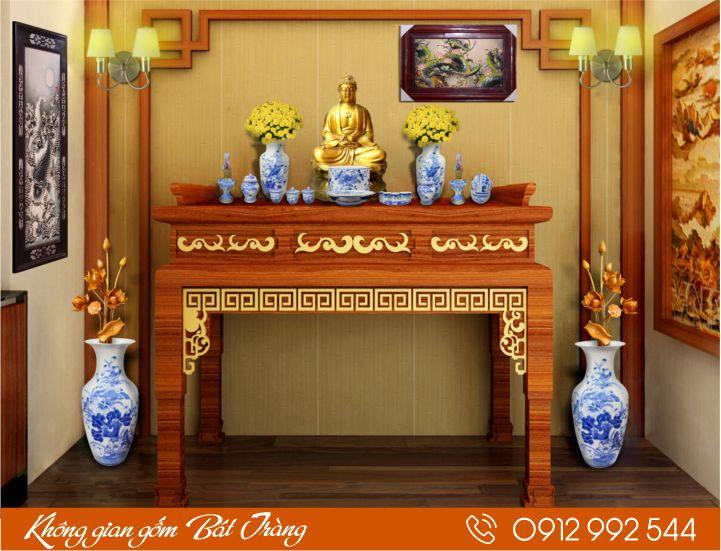 Bộ bàn thờ Phật men xanh
