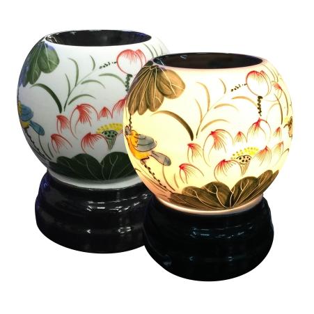 đèn xông tinh dầu bát tràng họa tiết hoa sen