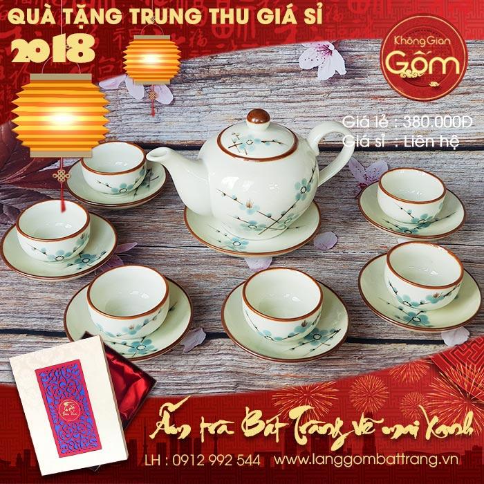 Bảng giá quà tặng trung thu 2018 - Ấm trà gốm sứ đẹp bát tràng