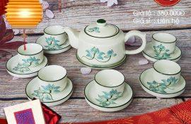 Quà trung thu giá sỉ - Ấm chén trà gốm sứ vẽ sen đẹp