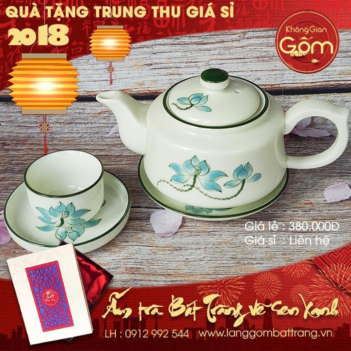 Bộ ấm trà vẽ sen xanh quà tặng cho nhân viên