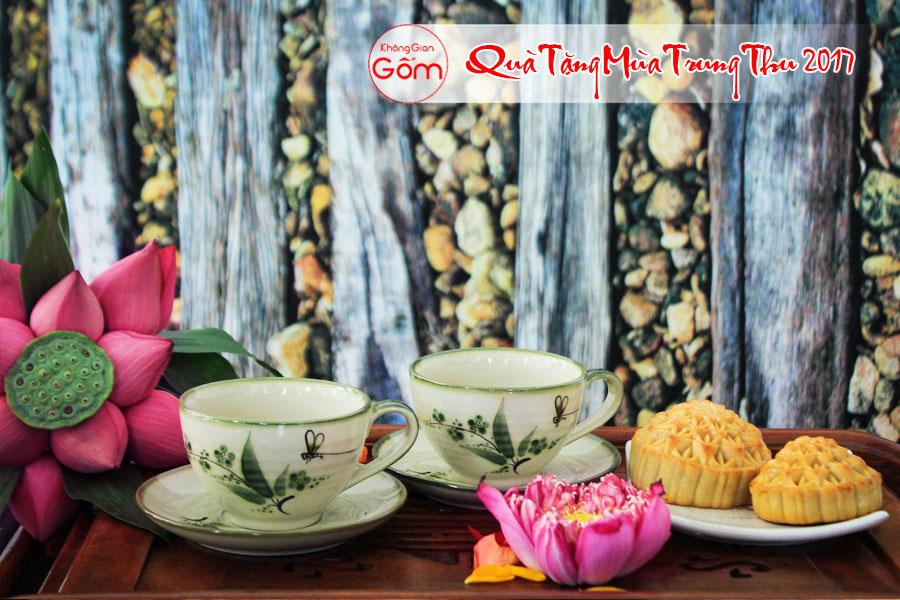 Bộ 2 tách trà có quai lá trúc, bộ quà tặng trung thu mới nhất 2017, quà trung thu cho doanh nghiệp