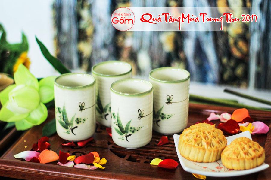 quà trung thu cho doanh nghiệp, Bộ 4 cốc trà gốm sứ lá trúc xanh làm quà trung thu