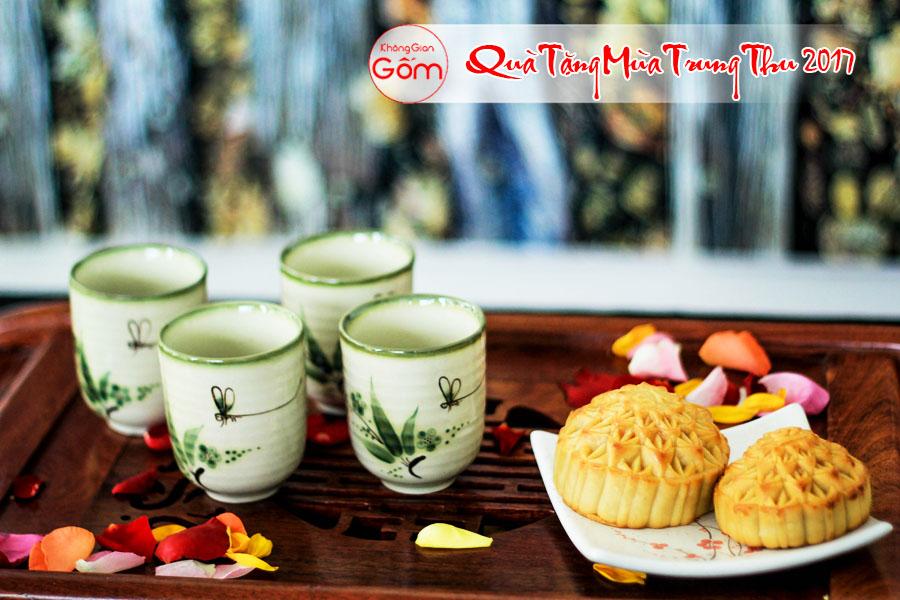 Bộ cốc trà gốm sứ 4 chiếc hình lá trúc - quà tặng trung thu cho nhân viên độc đáo và ý nghĩa