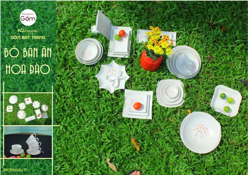 Bộ bàn ăn hoa Đào , sản phẩm dành riêng cho nhà hàng , khách sạn