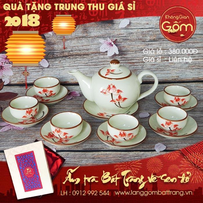 Quà tặng trung thu 2018 - Bộ ấm trà gốm sứ tráng men vẽ sen
