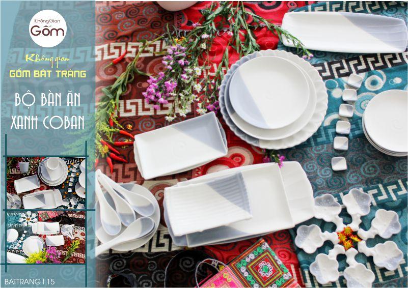 Bộ bàn ăn Bát đĩa Bát Tràng cao cấp