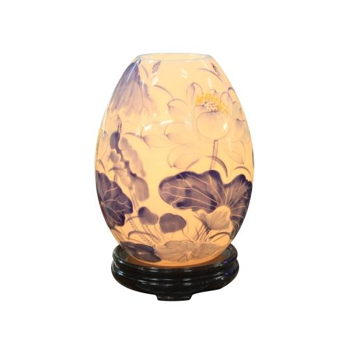 Đèn xông tinh dầu trứng mini vẽ hoa xanh