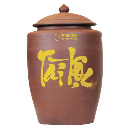 Hủ gạo Bát Tràng Tài Lộc nắp tháp