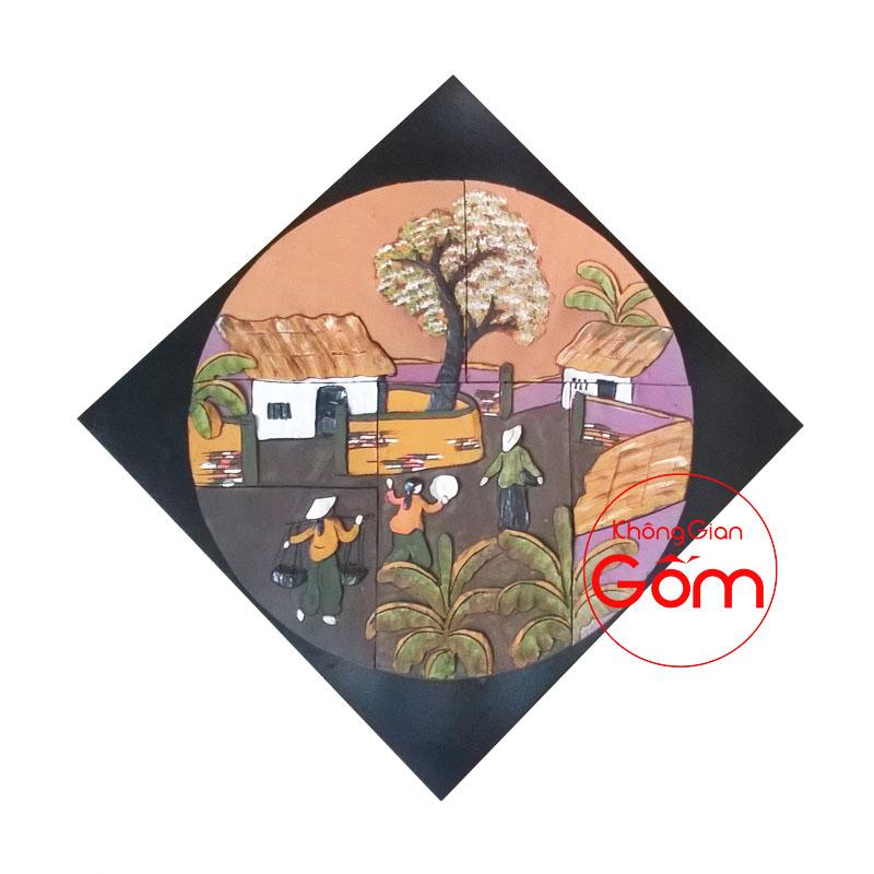 tranh gốm phòng khách tranh gốm sứ nghệ thuật tranh gốm sứ đồng quê tranh gốm sứ ốp tường bát tràng tranh gốm trang trí tường tranh gốm treo tường tranh gốm xưa tranh gốm đất nung tranh gốm đỏ