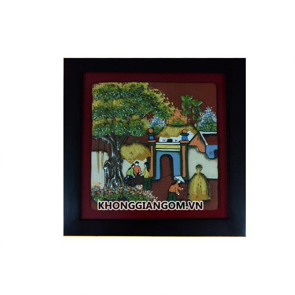 tranh gốm sứ đồng quê tranh gốm sứ ốp tường bát tràng tranh gốm phòng khách tranh gốm treo tường tranh gốm xưa