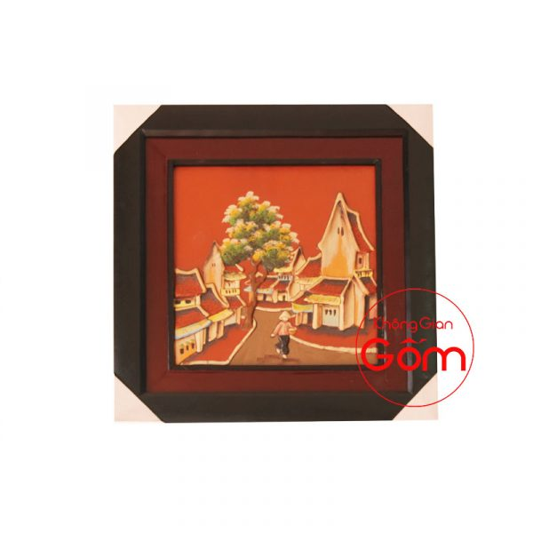 tranh gốm sứ nghệ thuật tranh gốm sứ đồng quê tranh gốm sứ ốp tường bát tràng tranh gốm trang trí tường tranh gốm treo tường tranh gốm xưa tranh gốm đất nung tranh gốm đỏ tranh phố cổ
