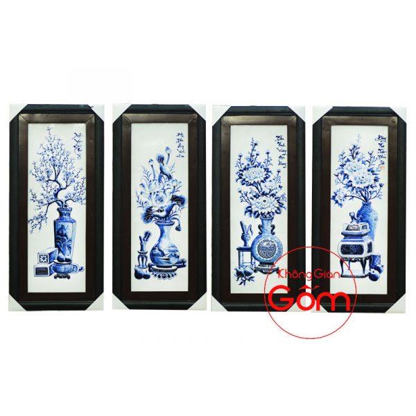 bộ tranh tứ quý đẹp, tranh gốm bát tràng, tranh gốm sứ, tranh tứ quý, tùng cúc trúc mai, tranh phong thủy,