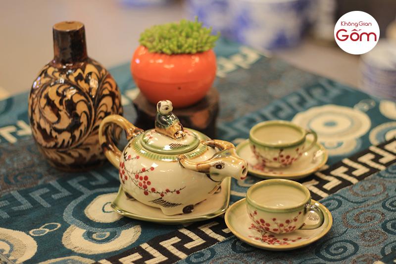 bộ trà con trâu bát tràng