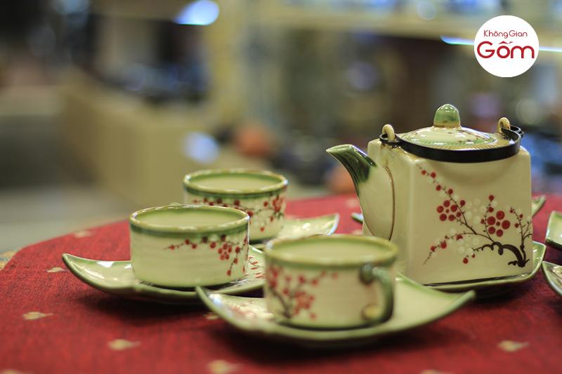 Bộ cà phê vuông to Bát Tràng