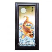 tranh sứ cá chép