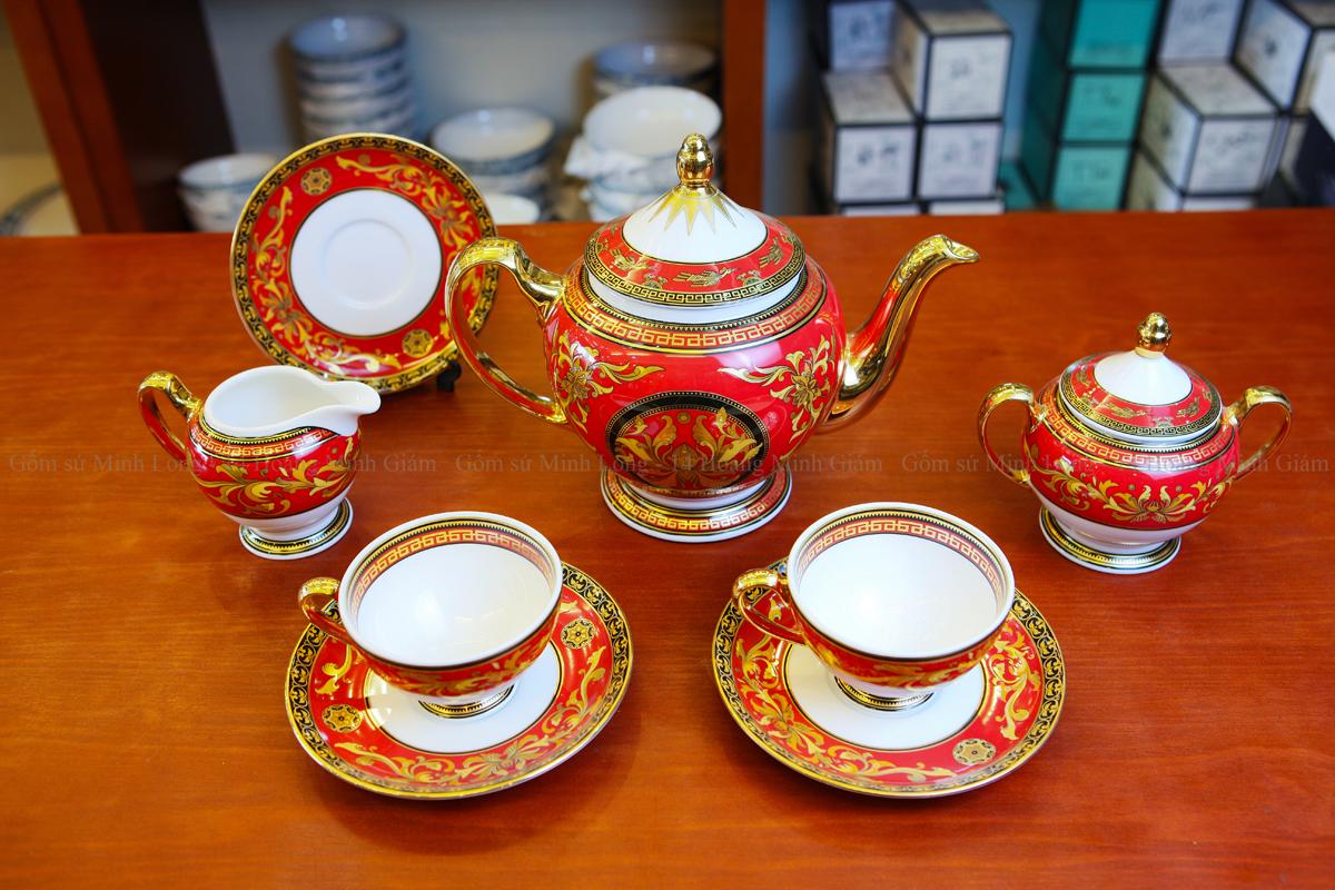 bộ ấm trà thuộc gốm sứ Minh Long