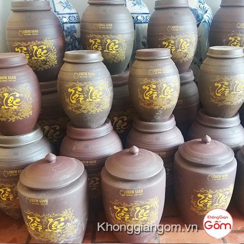 Chum đựng rượu gốm sứ Tài Lộc