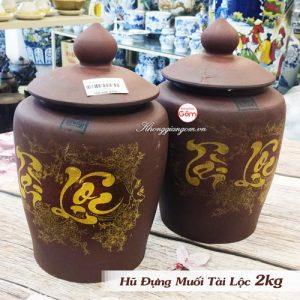 hũ gạo muối gốm sứ tài lộc 2kg