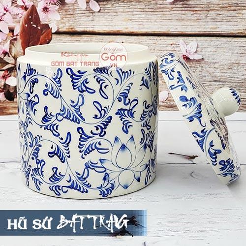 Hũ muối dưa cà gốm sứ 5l Bát Tràng - Hũ sành sứ vẽ hoa