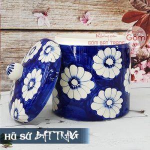 Hũ muối dưa cà gốm sứ Bát Tràng - Hũ sành sứ vẽ hoa