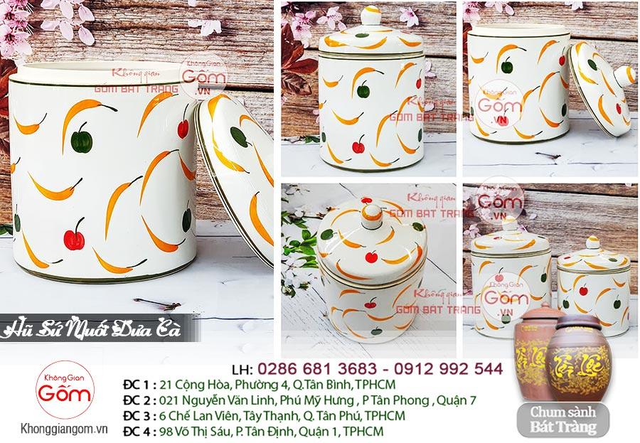 Hũ sứ muối dưa cà Bát Tràng 5L - Hũ sành sứ vẽ hoa
