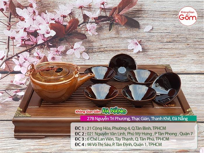 Ấm tích Bát Tràng pha trà gốm sứ quai đồng 1tr5│KGG Bát Tràng