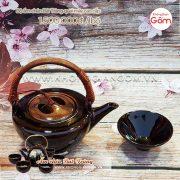 Ấm tích pha trà gốm sứ Bát Tràng quai mây 1tr5│KGG Bát Tràng