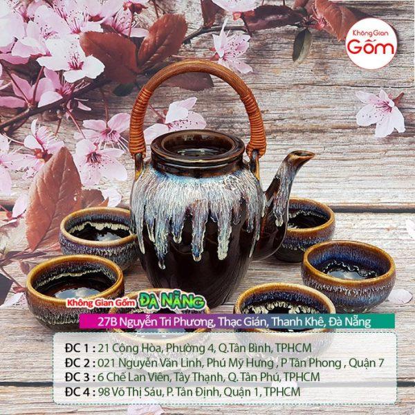 Bộ ấm chén trà gốm sứ Bát Tràng cao cấp quai mây 1tr7│KGG Bát Tràng