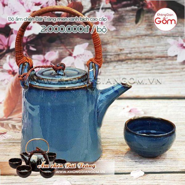Bộ ấm tích Bát Tràng pha trà men ngọc bích cao cấp 2tr│KGG Bát Tràng