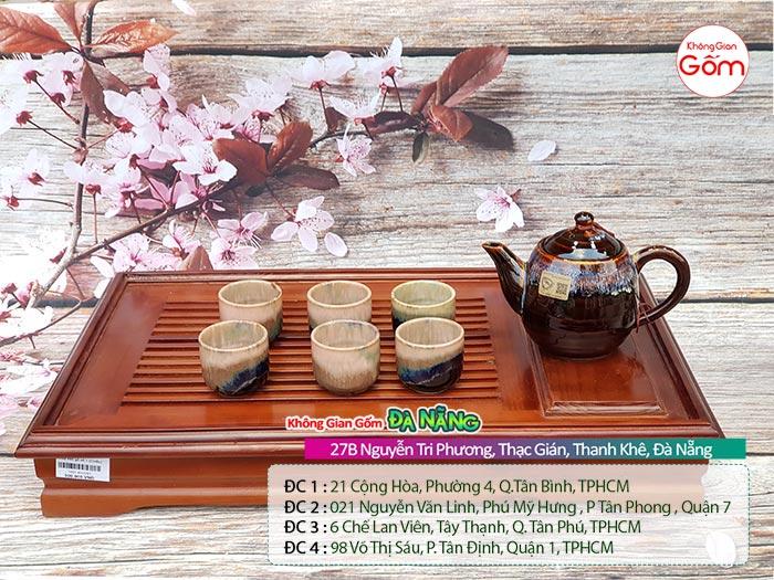 Bộ ấm trà Bát Tràng đẹp cao cấp men trầm bóng 1tr2│KGG Bát Tràng