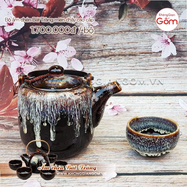 Bộ ấm trà Bát Tràng đẹp cao cấp quai đồng 1tr7│Không Gian Gốm