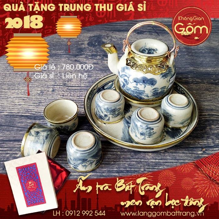 Bộ ấm trà men rạn bọc đồng cao cấp - Quà trung thu 2018