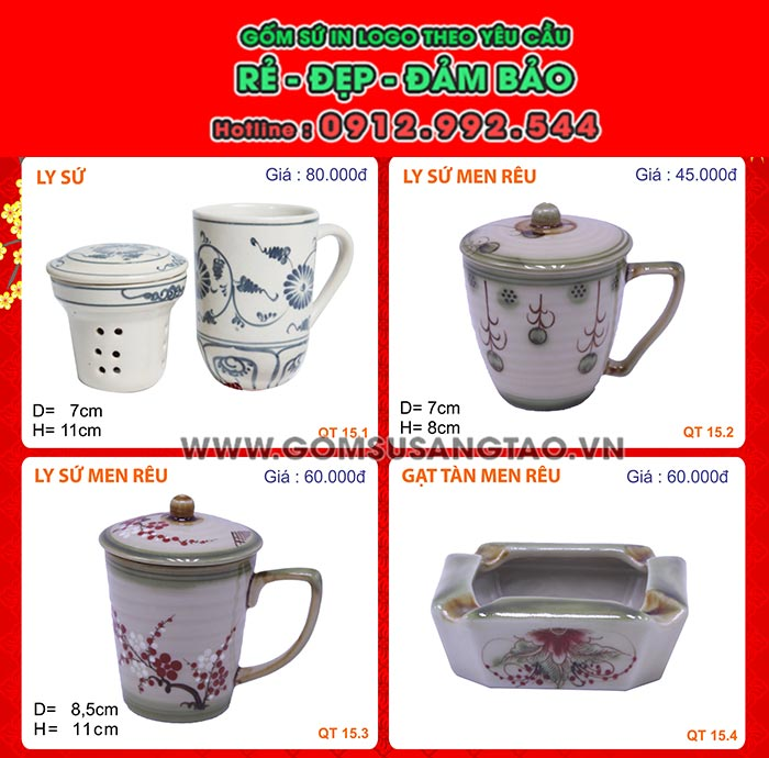 In logo lên quà tặng quận Tân Phú - ấm trà , ly sứ , cốc sứ , chén dĩa