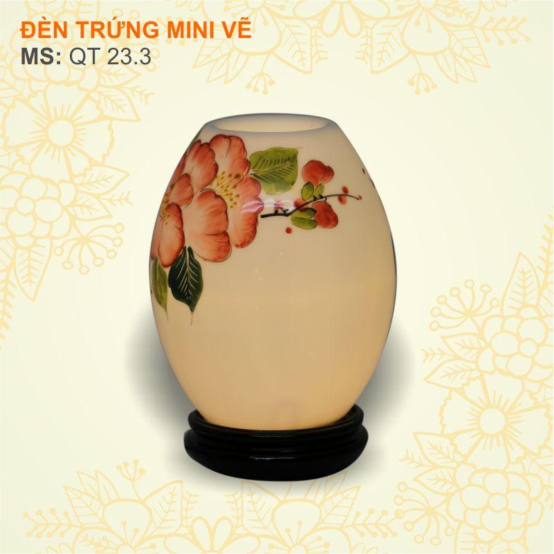 đèn trứng mini vẽ hoa bụt đỏ