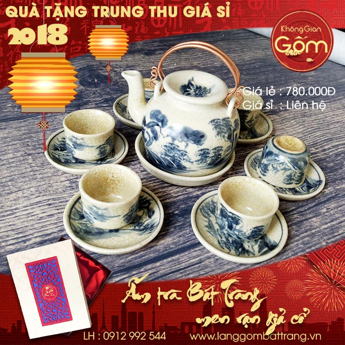 Quà Tặng Mùa Trung Thu 2018 – Hộp Quà ấm trà gốm Sứ sang trọng