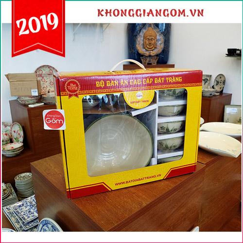 bộ bát đãi gốm sứ đẹp bát tràng quà tặng biếu tết ý nghĩa 2019