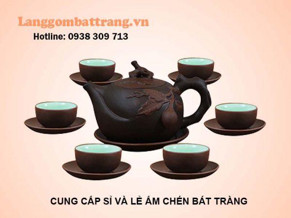 Bộ ấm trà đai trường thọ Bát Tràng