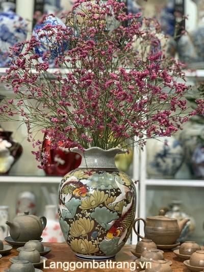 Bình hoa men rạn Bát Tràng