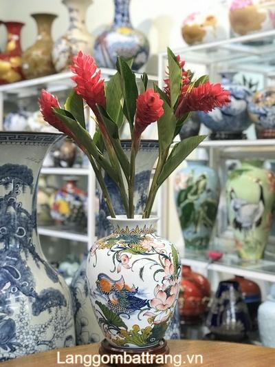 Bình hoa gốm sứ men màu
