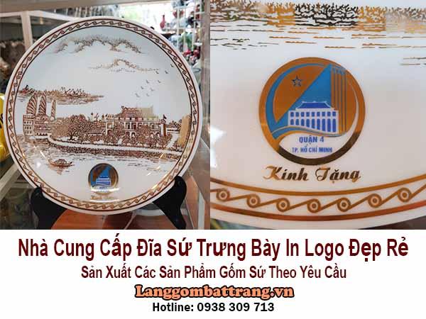đĩa sứ trưng bày in logo